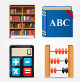 Boekenkast, Blocnote, Calculator, de Vector van het Telraampictogram Royalty-vrije Stock Foto's