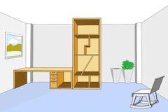 Boekenkast en bureau 3d in lege ruimte vectorillustratie Stock Afbeeldingen