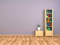 Boekenkast en nightstand bij de muur Stock Foto
