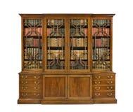 Boekenkast het oude antieke Engels met boeken stock fotografie