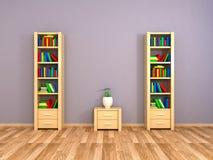 Boekenkasten bij de muur Stock Afbeelding