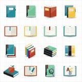 Boekenpictogrammen en bibliotheekpictogrammen vector illustratie