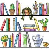 Boekenplank naadloos patroon Stock Afbeeldingen