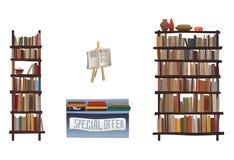 Boekenplanken en boekhandelapparatuur Stock Afbeeldingen