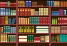 Boekenrek in bibliotheek, kennisillustratie stock illustratie