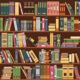 Boekenrek, boeken, bibliotheek vector illustratie