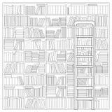 Boekenrek met Ladder Royalty-vrije Stock Afbeelding