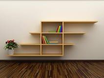 Boekenrek op de muur Stock Afbeelding