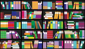 Boekenrekachtergrond Plankenhoogtepunt van kleurrijke boeken Huisbibliotheek met boeken Vector dichte omhooggaande illustratie De Stock Afbeelding