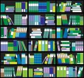 Boekenrekachtergrond Plankenhoogtepunt van kleurrijke boeken Huisbibliotheek met boeken Vector dichte omhooggaande illustratie De Royalty-vrije Stock Afbeeldingen
