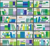 Boekenrekachtergrond Plankenhoogtepunt van kleurrijke boeken Huisbibliotheek met boeken Vector dichte omhooggaande illustratie De Stock Fotografie