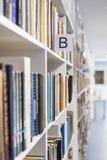 Boekenrekken die zich in de afstand uitrekken royalty-vrije stock fotografie