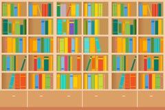 Boekenrekkenhoogtepunt van boeken allebei in de bibliotheek Vector illustratie vector illustratie