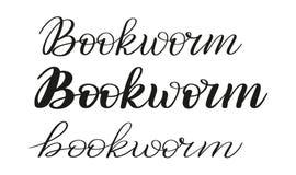 Boekenwurm Drie verschillende het schrijven stijlen Borstelpen het van letters voorzien Vector stock illustratie