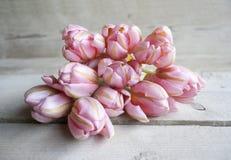 Boeket die van roze de lentetulpen in bloei, op houten achtergrond liggen royalty-vrije stock foto