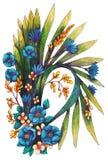 Boeket met blauwe bloemen royalty-vrije illustratie