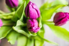 Boeket met purpere tulpen op de rustieke achtergrond Royalty-vrije Stock Afbeelding