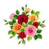 Boeket met rode, roze, oranje en gele rozen Vector illustratie royalty-vrije stock foto's