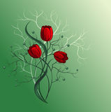 Boeket met rode tulp Vector Illustratie