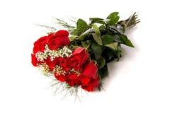 Boeket of rode rozen op wit Royalty-vrije Stock Afbeeldingen
