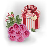 Boeket roze rozen en giftdoos Royalty-vrije Stock Fotografie
