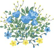 Boeket van blauwe en gele bloemen Stock Afbeelding