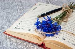 Boeket van blauwe korenbloemen op het open boek Stock Afbeelding