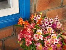 Boeket van bloemen Alstroemeria dichtbij de muur thuis Royalty-vrije Stock Fotografie