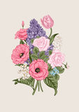 Boeket van bloemen Bloemen achtergrond Stock Fotografie