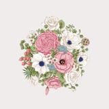 Boeket van bloemen De kaart van het huwelijk Royalty-vrije Stock Afbeeldingen