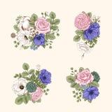 Boeket van bloemen De kaart van het huwelijk Royalty-vrije Stock Fotografie