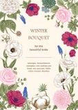 Boeket van bloemen De kaart van het huwelijk Royalty-vrije Stock Foto's