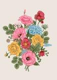 Boeket van bloemen De kaart van het huwelijk Royalty-vrije Stock Afbeelding