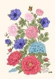 Boeket van bloemen De kaart van het huwelijk Stock Fotografie