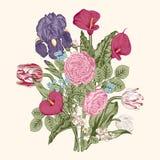 Boeket van bloemen De kaart van het huwelijk Stock Afbeelding