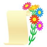 Boeket van bloemen en een rol Stock Afbeeldingen
