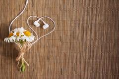 Boeket van bloemen en hoofdtelefoons in de vorm van een hart stock afbeeldingen