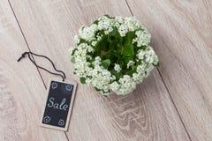 Boeket van bloemen en kaart op de houten achtergrond Royalty-vrije Stock Foto