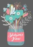 Boeket van bloemen in glaskruik lettering zomer Bloemen ontwerp? achtergrond, achtergrond, illustratie Achtergrond met Bloesem royalty-vrije illustratie