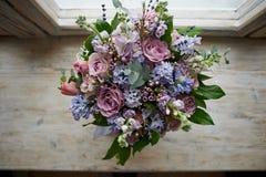 Boeket van bloemen: groen, blauw, purper Royalty-vrije Stock Foto