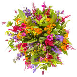 Boeket van bloemen hoogste die mening op wit wordt geïsoleerd royalty-vrije stock foto's