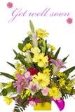 Boeket van bloemen met tekst Stock Afbeeldingen