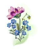Boeket van bloemen, op witte backgrond wordt geïsoleerd die Royalty-vrije Stock Fotografie