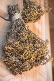 Boeket van droge bloemen op een uitstekende koffieachtergrond Uitstekende decoation voor koffie en restaurant stock foto's