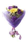 Boeket van gele gerbera en violette eustoma stock fotografie