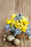 Boeket van gele narcissen en de blauwe hyacint van de muscaridruif Stock Foto's