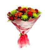 Boeket van gerberas, rozen en chrysanten Stock Foto's