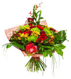 Boeket van gerberas, rozen en chrysanten Royalty-vrije Stock Afbeeldingen