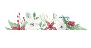Boeket van het Bloemstuk het Feestelijke Jolly Floral Hand Painted Holidays van waterverfkerstmis Stock Afbeeldingen