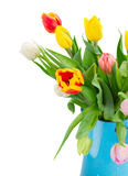 Boeket van multicolored tulpenbloemen in blauwe pot Royalty-vrije Stock Foto's